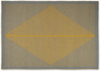 An Image of Camden Diamond Wool Rug, Large 160 x 230cm, Grey and Mustard Yellow