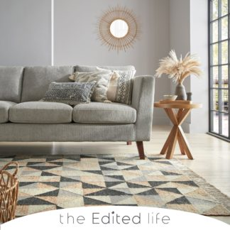 An Image of Jute Blend Triangle Patterned Rug Charcoal (Grey)