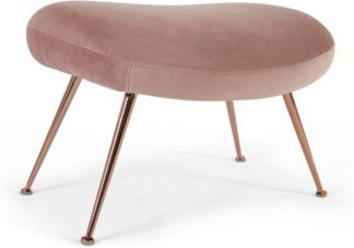 An Image of Moby Footstool, Vintage Pink Velvet