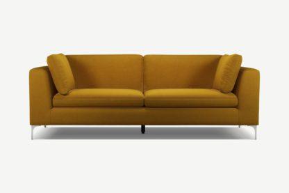 An Image of Monterosso 3 Seater Sofa, Vintage Mustard Velvet with Chrome Leg