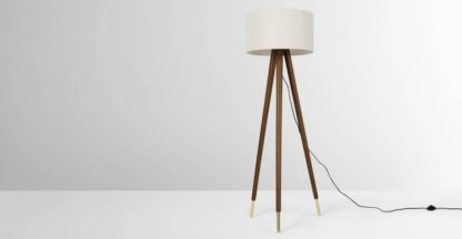 An Image of Bree Turned Wood Tripod Floor Lamp, Dark Wood & White