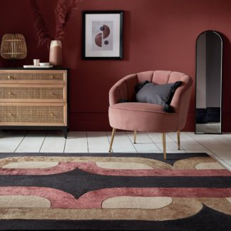 An Image of Kata Wool Mix Rug Black, Brown and Red