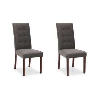 An Image of Madrid Set of 2 Dining Chairs Grey Velvet Grey