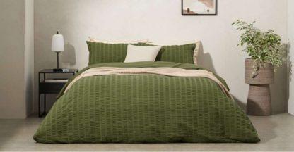 An Image of Laboni Seersucker 100% Cotton Duvet Cover + 2 Pillowcases, King, Moss Green UK