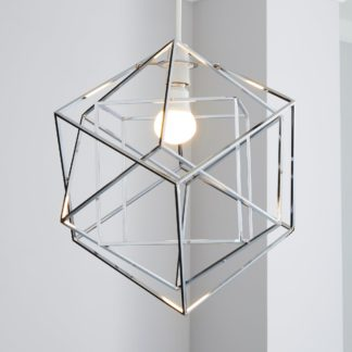 An Image of 5A Chicago Dodecahedron Chrome Easy Fit Pendant Chrome