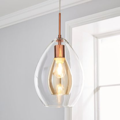 An Image of Eden Pendant Ceiling Fitting Copper Clear