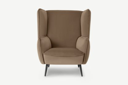 An Image of Linden Accent Armchair, Taupe Velvet