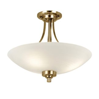 An Image of Endon Welles 3 Light Flush Ceiling Fitting Brass Brown and White