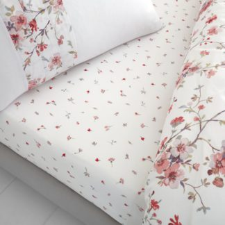 An Image of Catherine Lansfield Jasmine Floral Fitted Sheet White and Pink