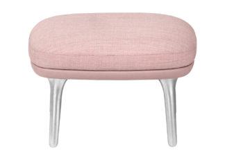 An Image of Fritz Hansen Ro Easy Footstool Light Pink with Aluminium Legs