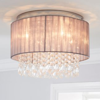 An Image of Riah 1 Light Jewels Shade Grey Flush Ceiling Fitting Grey