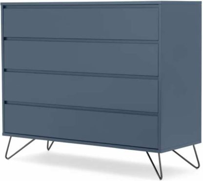 An Image of Elona Chest of Drawers, Slate Blue & Black