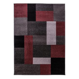 An Image of Red Chunky Blocks Rug Red, Grey and Black