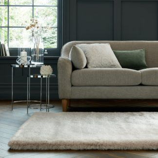 An Image of Dorma Purity Luxury Faux Fur Rug Ivory