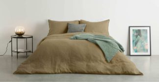 An Image of Brisa 100% Linen Duvet Cover + 2 Pillowcases King Size, Soft Taupe
