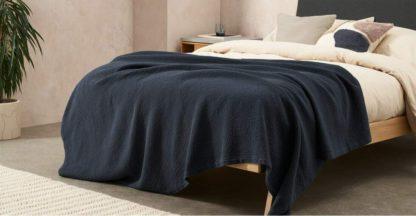 An Image of Cael 100% Cotton Matelasse Bedspread, 150 x 200cm, Ink Blue