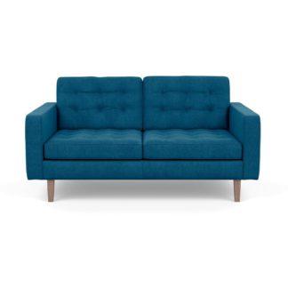 An Image of Heal's Hepburn 2 Seater Sofa St Mortitz Wool Teal Walnut Feet