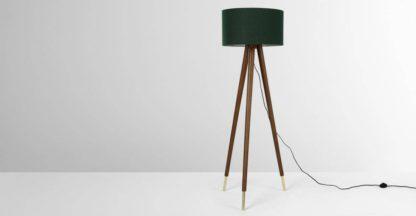 An Image of Bree Turned Wood Tripod Floor Lamp, Dark Wood & Green