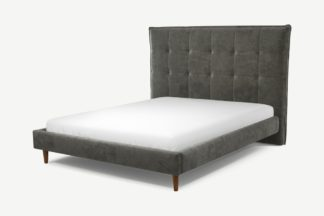 An Image of Custom MADE Lamas King Size Bed, Steel Grey Velvet with Walnut Stained Oak Legs