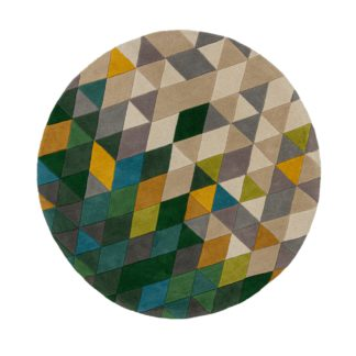 An Image of Prism Wool Circle Rug Green, Yellow and Blue