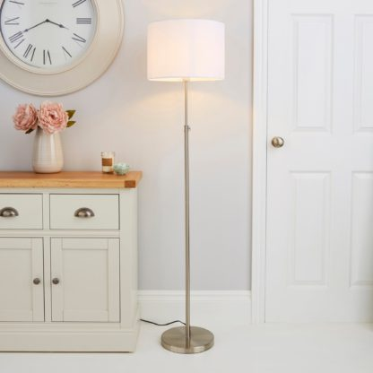 An Image of Hemming Adjustable Height Steel Floor Lamp Chrome