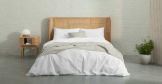 An Image of Zana Organic Cotton Stonewashed Duvet Cover + 2 Pillowcases, Double, White UK