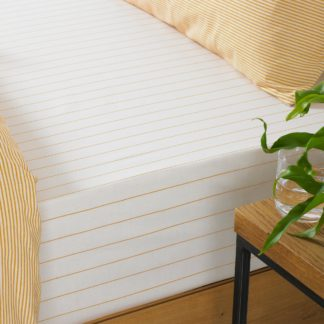 An Image of Holbury Ochre Stripe 100% Cotton Fitted Sheet Yellow and White