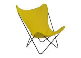 An Image of Knoll Butterfly Chair Acid Green Black Base