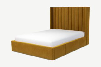 An Image of Custom MADE Cory Double Bed with Drawer Storage, Dijon Yellow Cotton Velvet