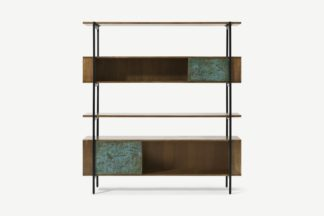 An Image of Morland Wide Shelving Unit, Mango Wood & Patina