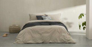 An Image of Alexia Stonewashed Cotton Duvet Cover + 2 Pillowcases, King, Stone UK