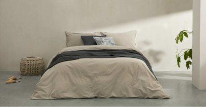 An Image of Alexia Stonewashed Cotton Duvet Cover + 2 Pillowcases, Double, Stone UK