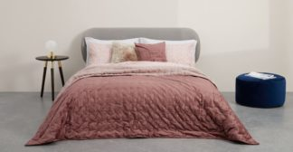 An Image of Tabitha Distressed Velvet Quilted Bedspread 225x220cm, Dusky Pink