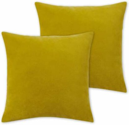 An Image of Lorna Set of 2 Velvet Cushions, 45 x 45cm, Chartreuse