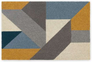 An Image of Holden Large Coir Doormat 60 x 90cm, Blue and Yellow