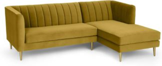 An Image of Amicie Right Hand Facing Chaise End Corner Sofa, Vintage Gold Velvet