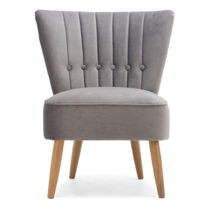 An Image of Isla Velvet Cocktail Chair - Light Grey Grey
