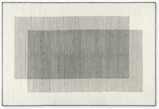 An Image of Caixa Wool Rug, Large 160 x 230cm, Off White & Black