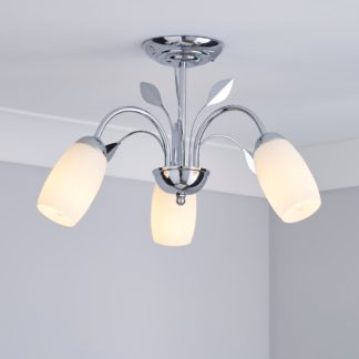 An Image of 3 Light Frosted Glass Chrome Ceiling Fitting Silver