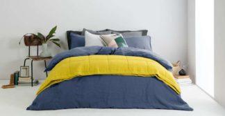 An Image of Brisa Linen Duvet Cover + 2 Pillowcases, Double, Blue Dusk UK