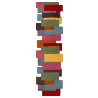 An Image of Abstract Collage Runner Pink/Green/Yellow/Red/Blue