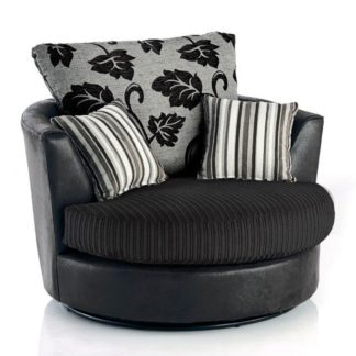 An Image of Lush Jumbo Cord Swivel Chair Black