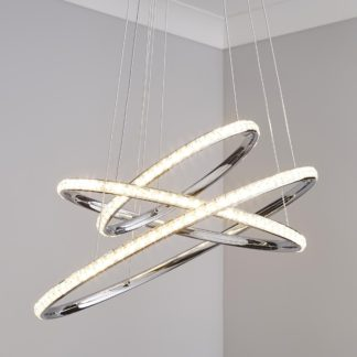 An Image of Cali 3 Light Integrated LED Hoop Crystal Ceiling Fitting Chrome