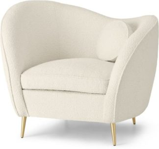 An Image of Kooper Accent Armchair, Whitewash Boucle