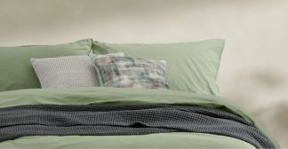 An Image of Alexia 100% Stonewashed Cotton Pair of Pillowcases, Soft Green UK