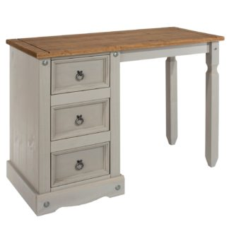 An Image of Corona Grey Single Pedestal Dressing Table Grey