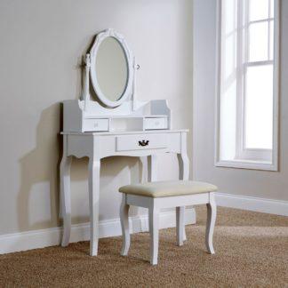 An Image of Lumberton White Antique Dressing Table Set White