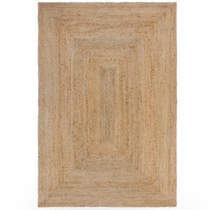 An Image of Jute Design Woven Rug Brown