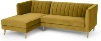 An Image of Amicie Left Hand Facing Chaise End Corner Sofa, Vintage Gold Velvet