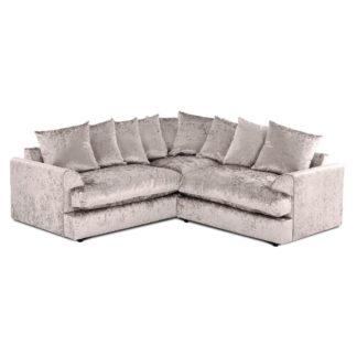 An Image of Jasper Large Velvet Corner Sofa Beige